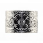 BR014 | Engraved Bracelet | Die Struck | Silver | Flowers | Leaves | Scrolls