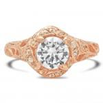 Rose Gold Ladies Engagement Ring R10439-D,CZ (1)