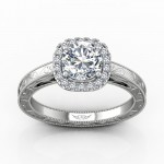 FlyerFit Solitaire 14k White Gold Hand_Engraved Engagement Ring