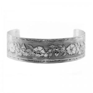 Estate | Engraved Bracelet | Die Struck | Silver | Flowers | Leaves