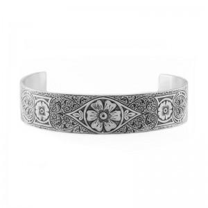 Estate | Engraved Bracelet | Die Struck | Gold Silver | Floral | Scrolls