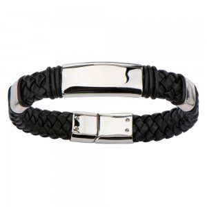 Stainless Steel Black leather Bracelet