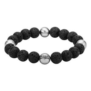 Lava Satin Beads Matte Steel Bracelet