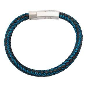 Blue and Black Woven Rubber Bracelet