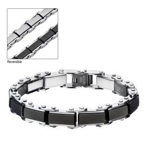 Black Plated Rectangular Reversible Bracelet
