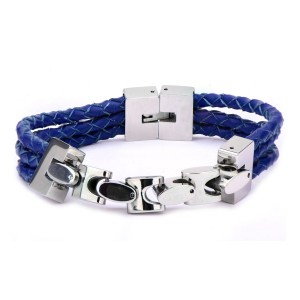 Blue Braided Leather with Chain Bracelet