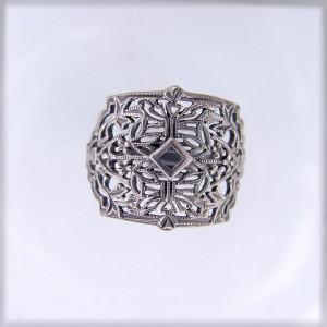 CB001 | Antique| Cigar Band | Gold Platinum Silver | .03ct 2mm round stone