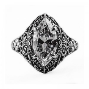 Filigree Ring   Gold   Running Scrolls   1.62ct or 12x6mm Marquise Stone