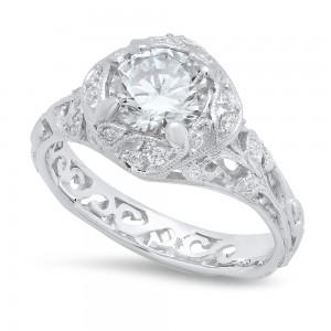 White Gold Ladies Engagement Ring R10439-D,CZ