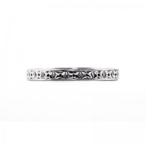Engagement Wedding Band | Silver Platinum | Heavily Engraved | Flowers