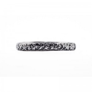 Vintage Wedding Band | Silver Platinum | Heavily Engraved | Flowers