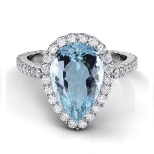 Pear Shape Aquamarine Diamond Ring