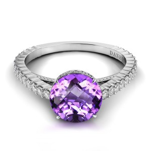 Single Shank Amethyst Diamond Ring