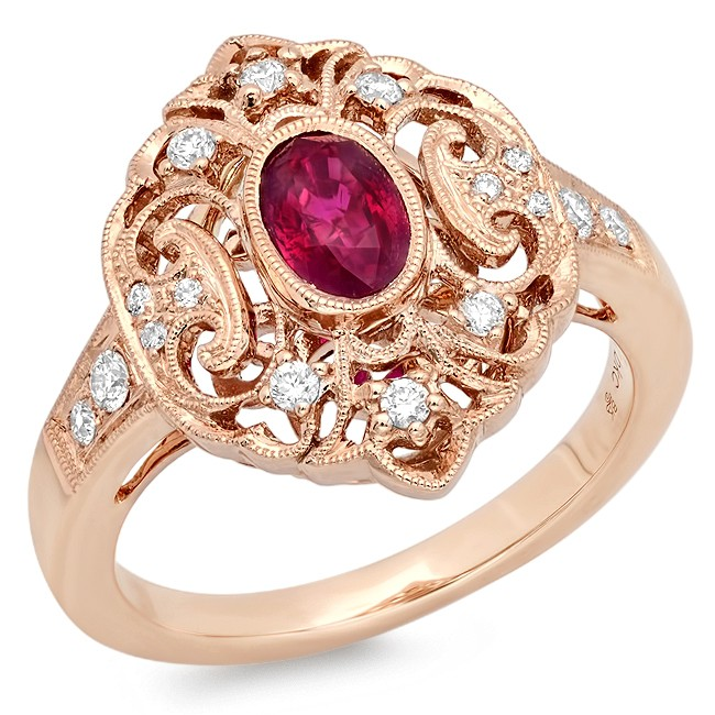Rose Gold Ladies Engagement Ring R10000(A)-D,R