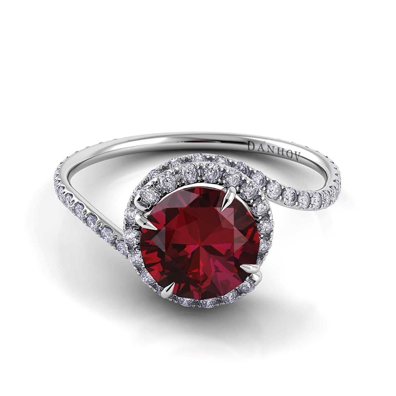 Ruby Swirl Diamond Ring