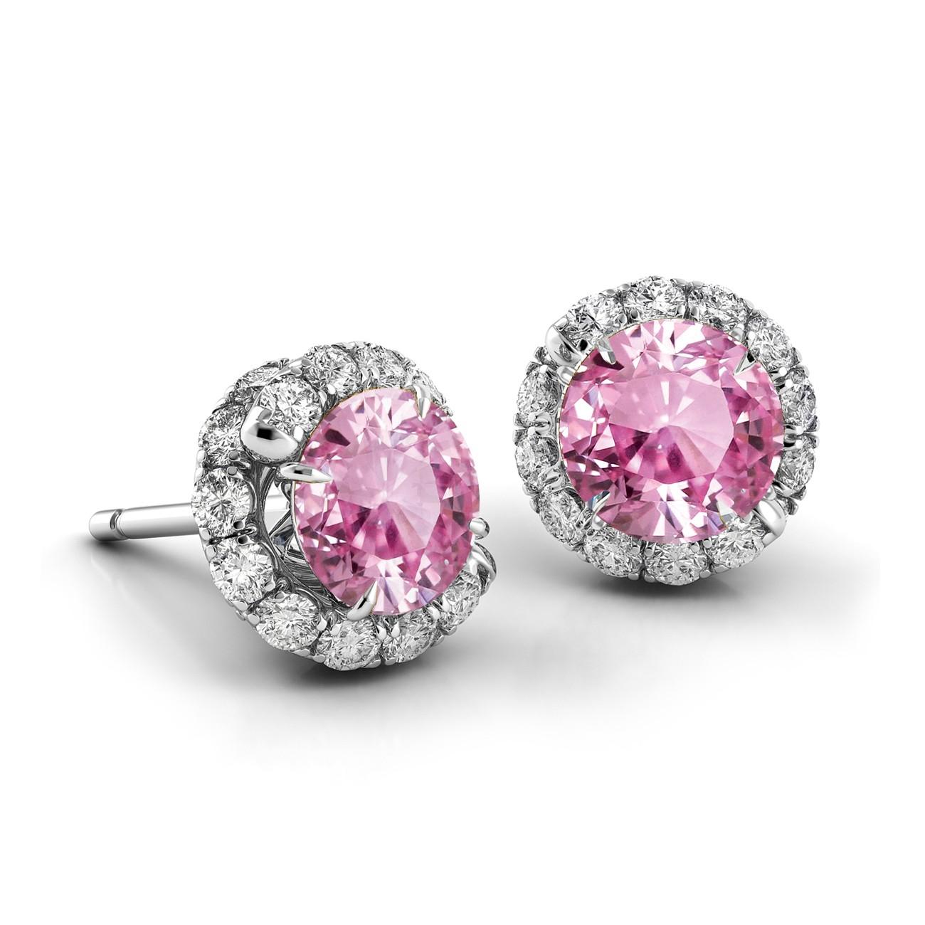 Swirl Pink Sapphire Diamond Earrings