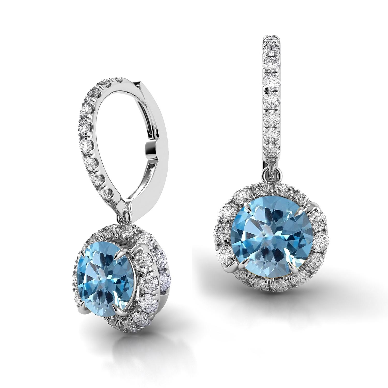 Swirl Blue Sapphire Drop Diamond Earrings