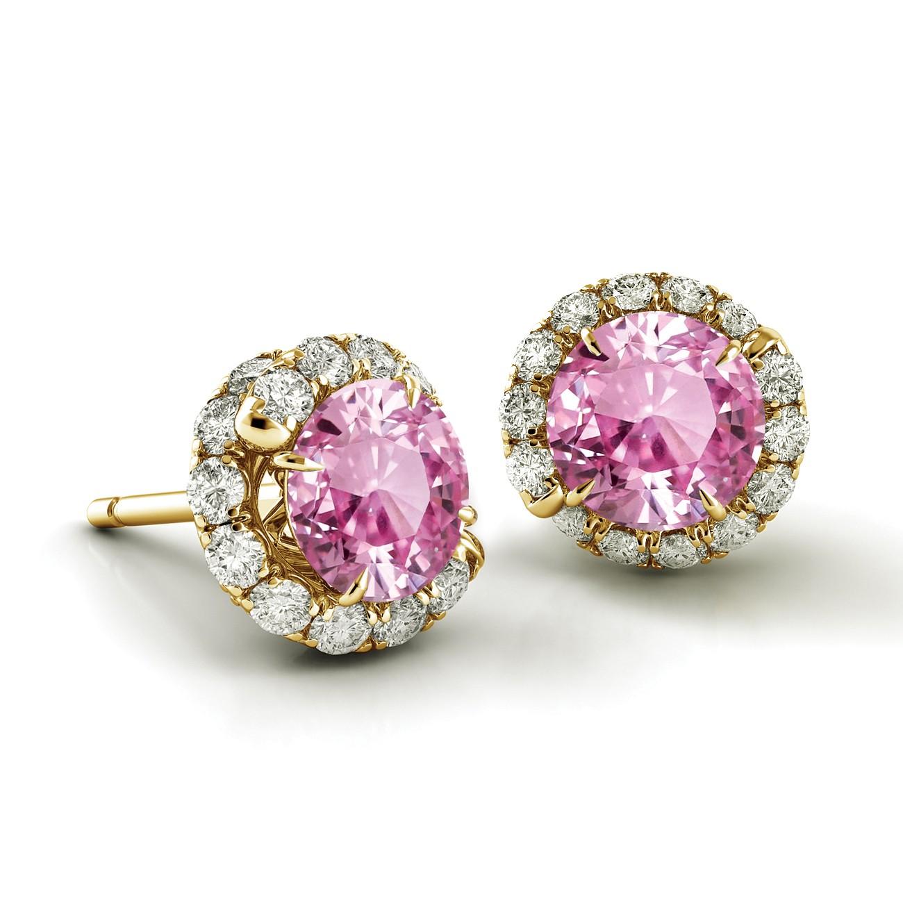 Swirl Pink Sapphire Diamond Earrings AH100Y-PS