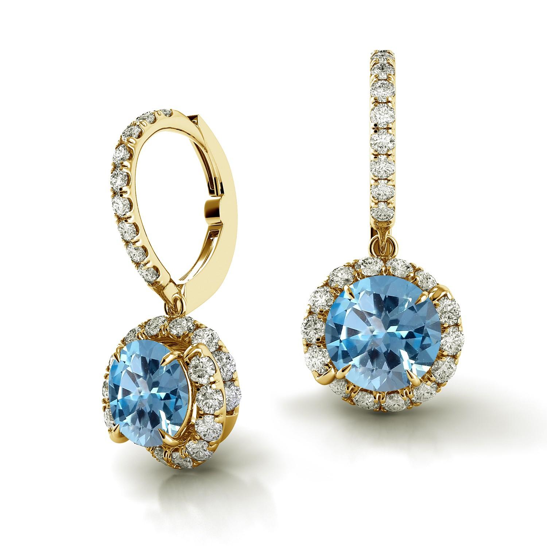 Swirl Blue Sapphire Drop Diamond