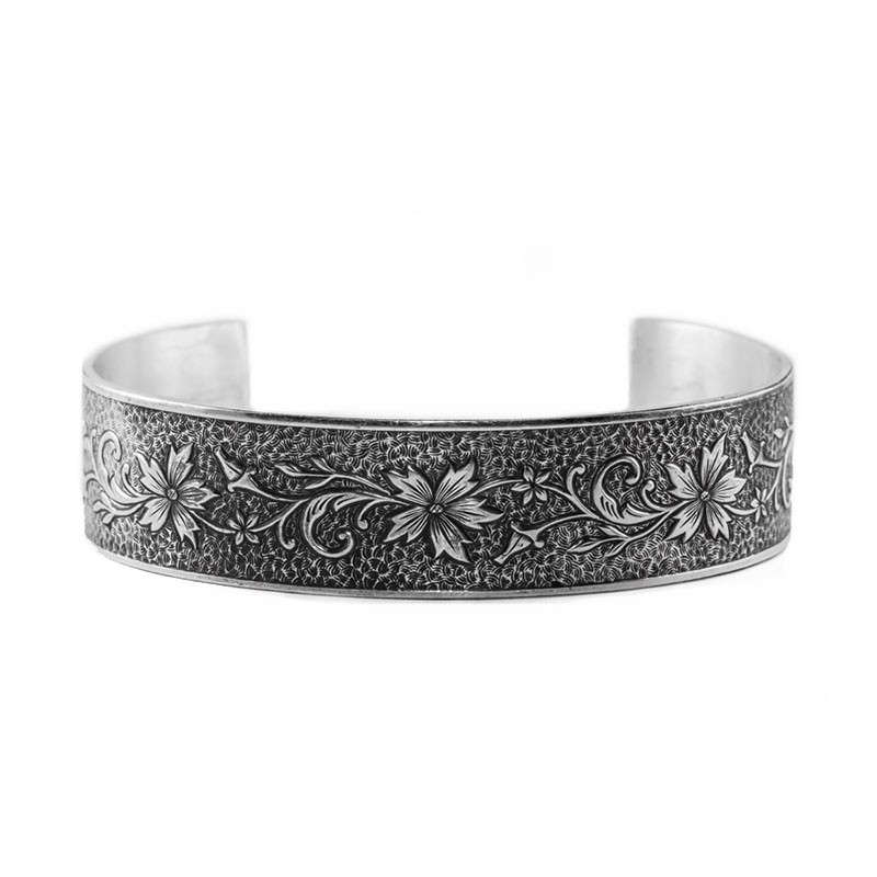 Estate | Engraved Bracelet | Die Struck | Gold Silver | Floral
