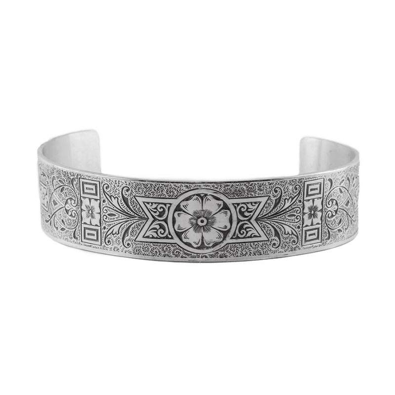 Engraved Bracelet | Die Struck | Silver | Flowers | Leaves | Scrolls