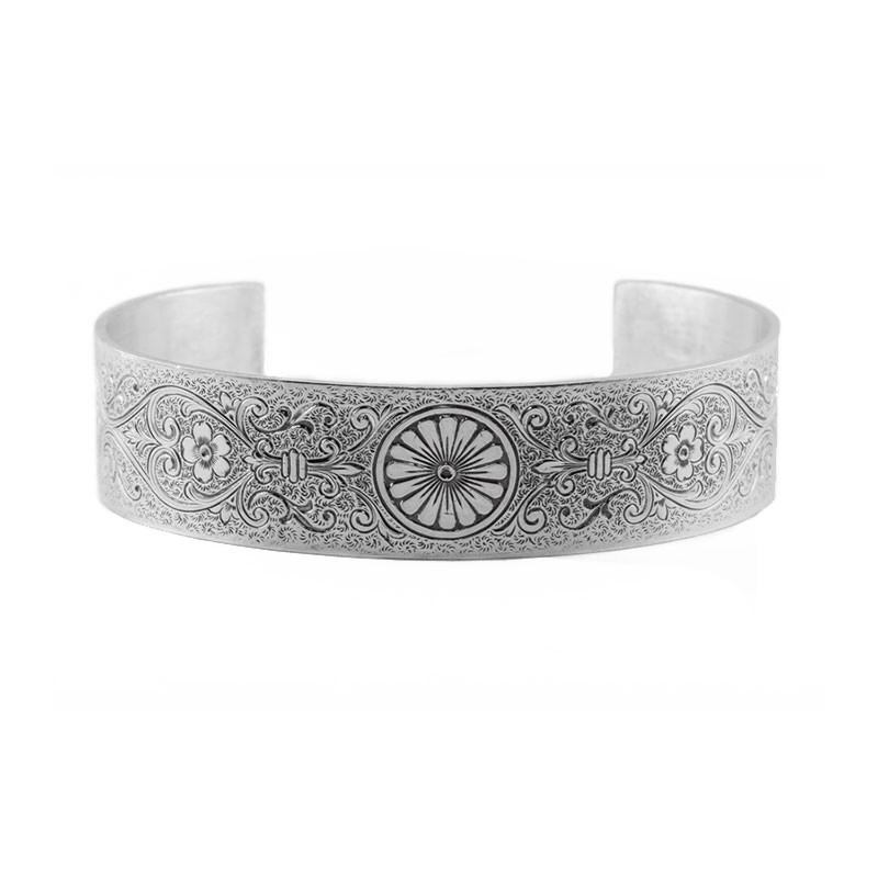 Engraved Bracelet | Die Struck | Silver | Flowers | Running Scrolls