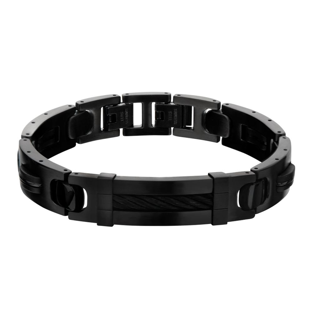 Plated Black with ID Plate Link Bracelet