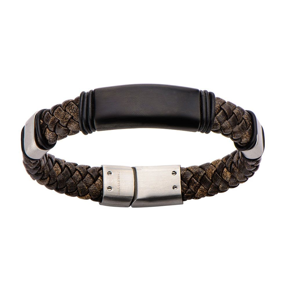Brown Braided Leather Steel Clasp Bracelet
