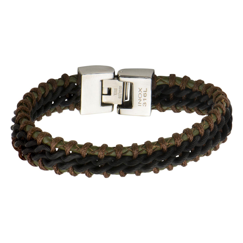 Dark Green & Brown with Plated Black Steel Leather Bracelet