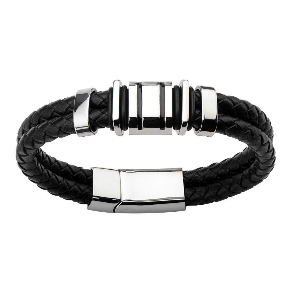 Double Strap Black Braided Leather Bracelet