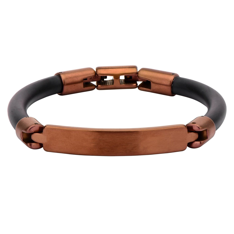 Matte Finished Brown Bar ID Rubber Engravable Bracelet