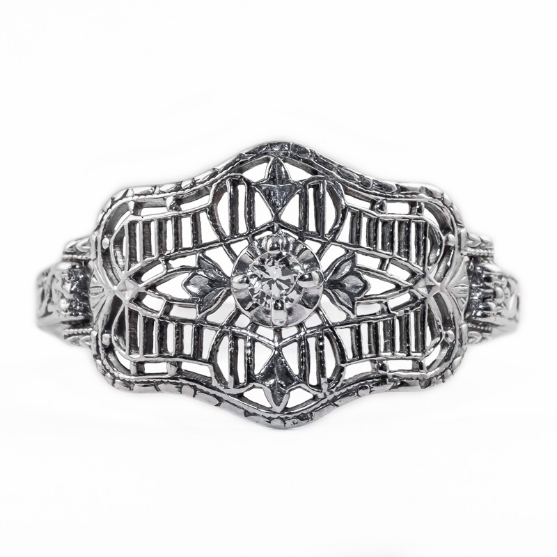 CB010 | Antique| Cigar Band | Gold Platinum Silver | .10ct or 3mm round stone