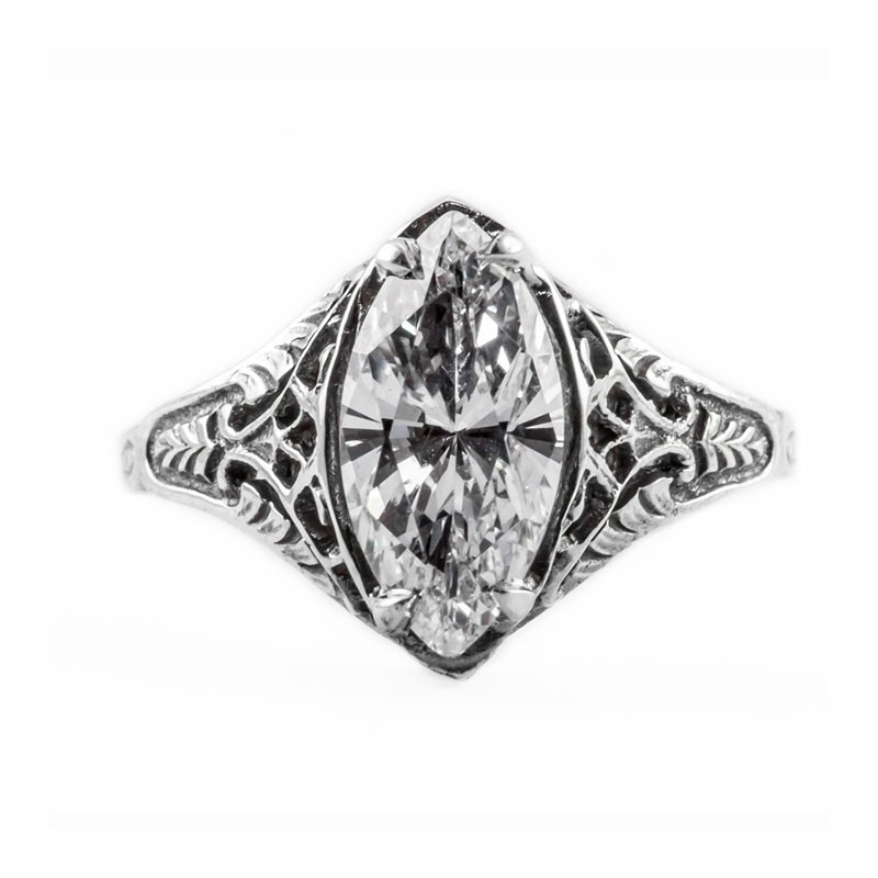 Filigree Ring | Gold Silver | Delicate | 1.62ct or 12x6mm Marquise Stone