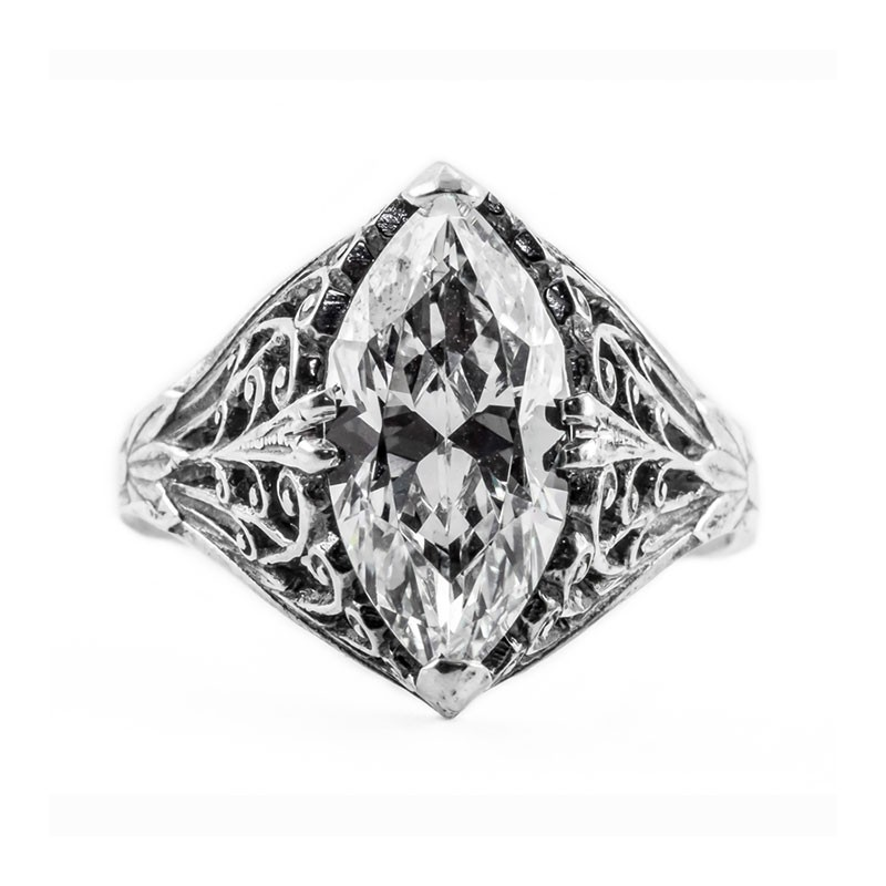 Estate Filigree Ring | Silver | Scrolls | 3ct or 14x8mm marquise stone
