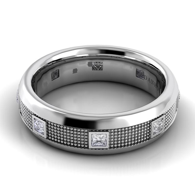 Domed Diamond Wedding Ring for Men