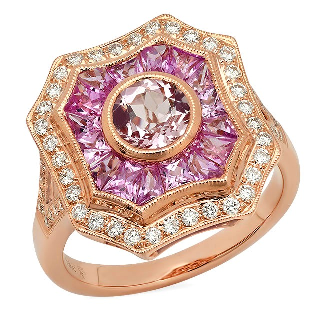 White Gold Ladies Engagement Ring R10355 PINK SAPPHIRE