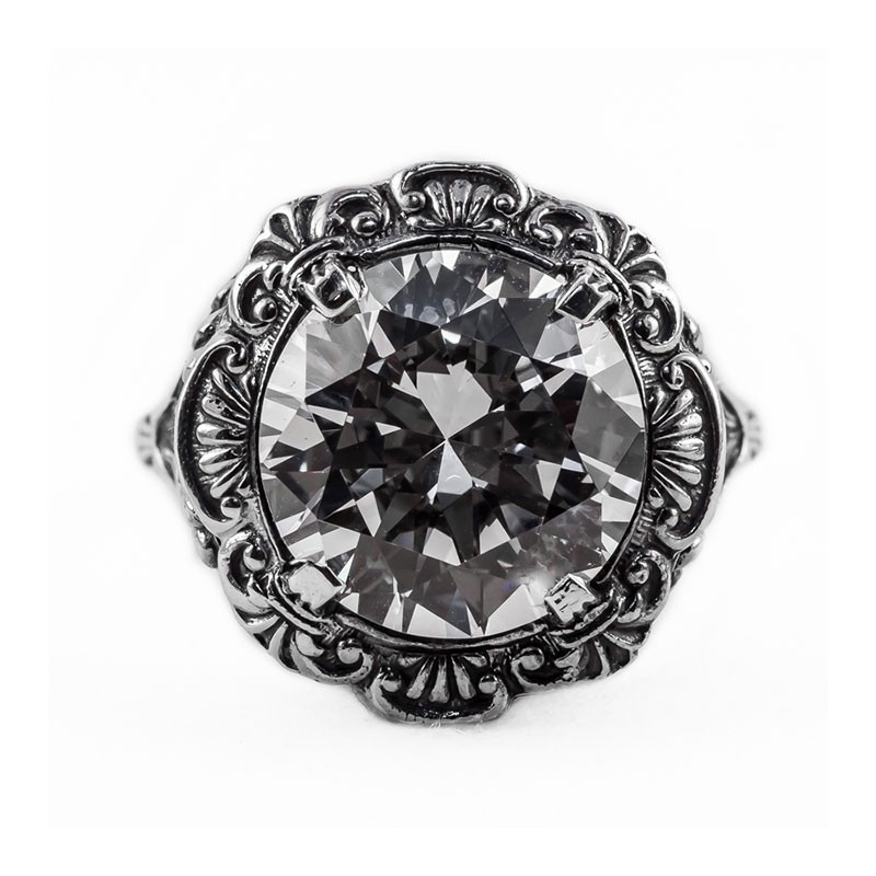 Vintage Filigree Ring | Silver Platinum | 4.75ct or 11mm round stone