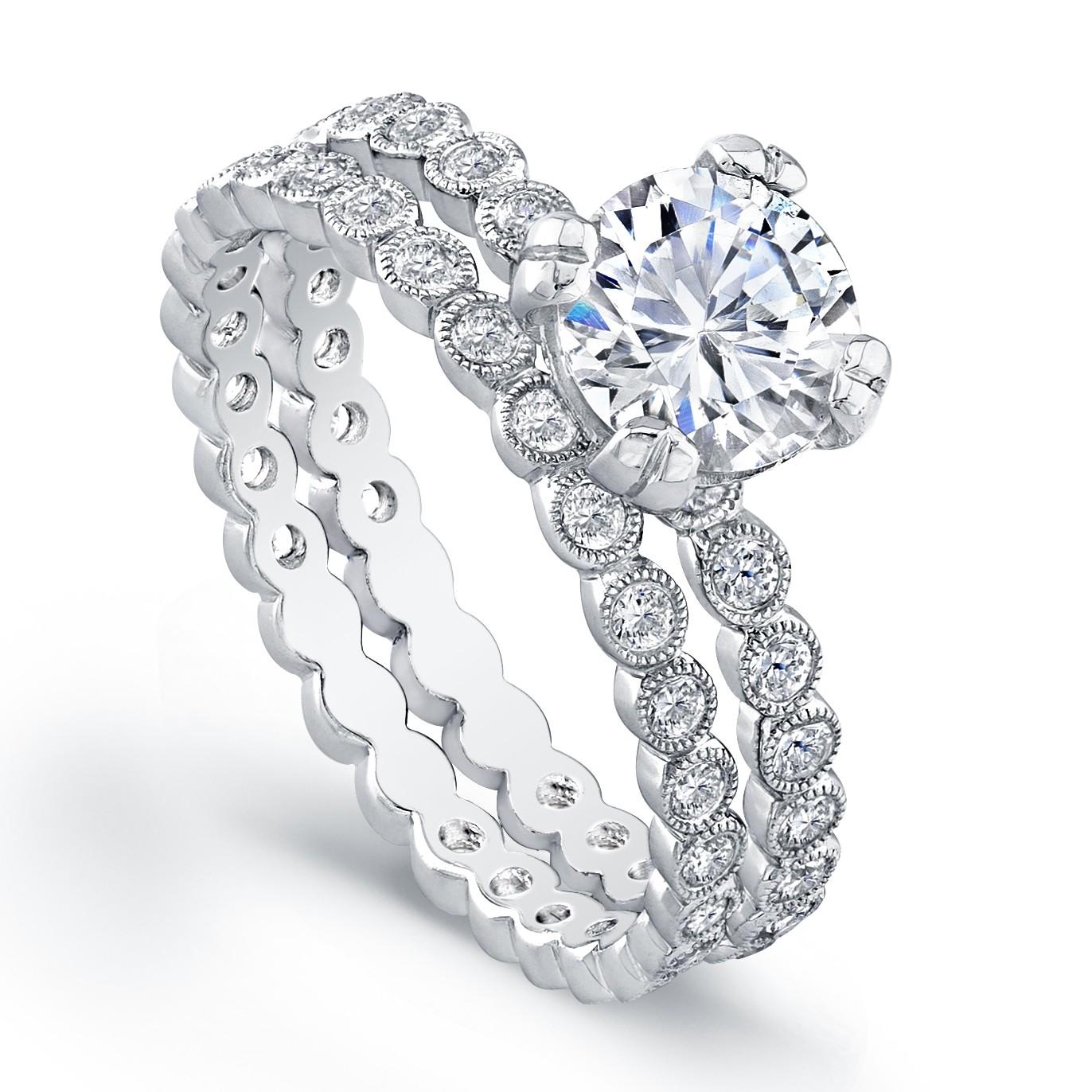White Gold Ladies Engagement Ring R4019(C)-D,D,CZ