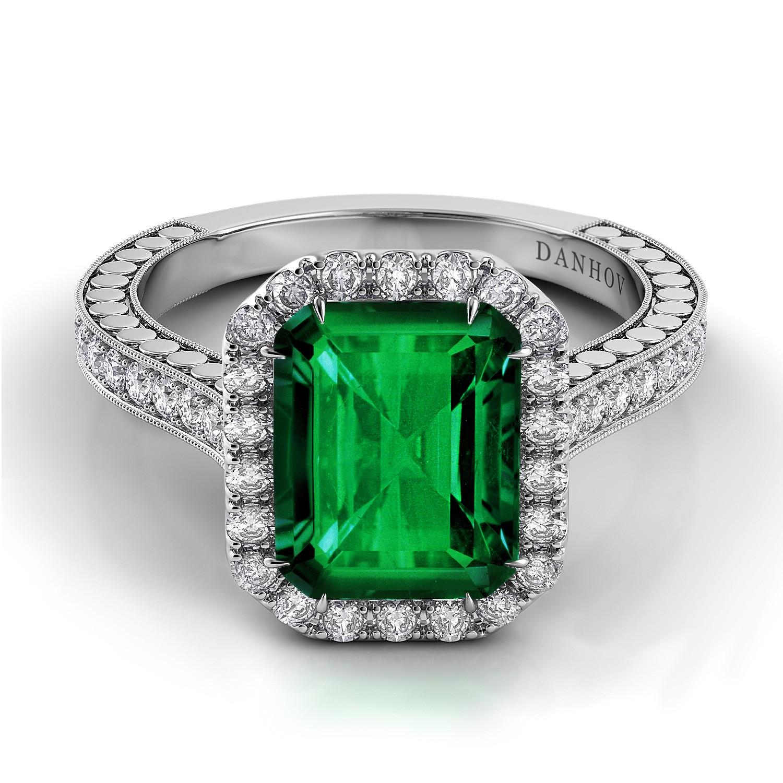 Single Shank Emerald Diamond Ring