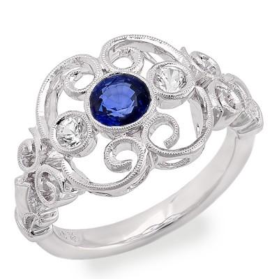 White Gold Ladies Fashion Ring R10039-WS,S