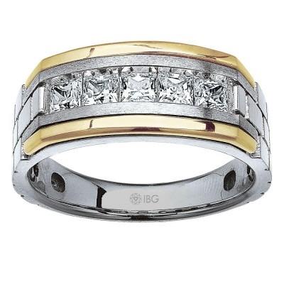 Two-Tone Mens Wedding Band 63776XGW4X