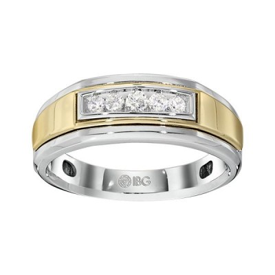 Two-Tone Mens Wedding Band 64036YLW4X