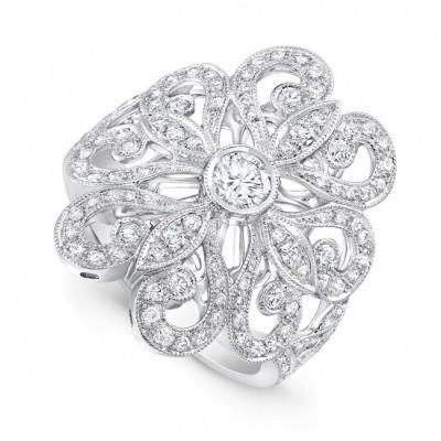 White Gold Ladies Fashion Ring R10365-D,D