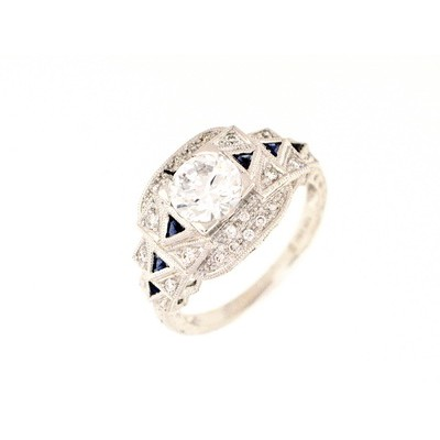 Art deco diamond and sapphire semi-mount