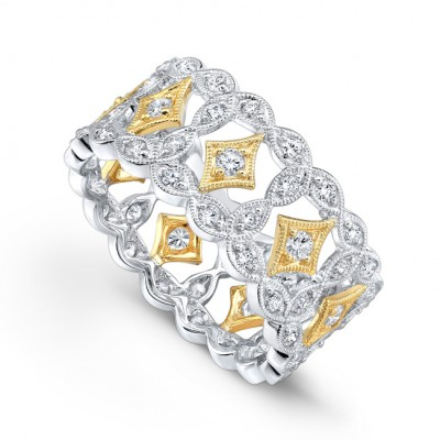 2-tone White and Yellow, White Gold, Yellow Gold Ladies Bands R179-D,D