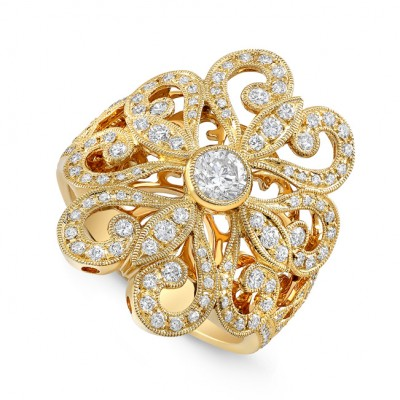Yellow Gold Ladies Fashion Ring R10365(A)-D,D,D