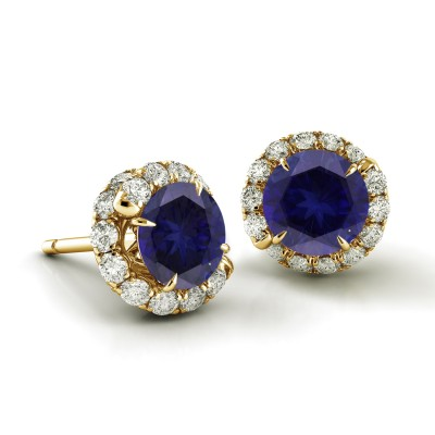 Swirl Blue Sapphire Diamond Earrings.