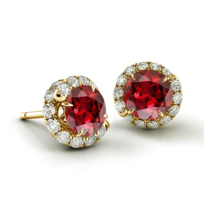 Swirl Ruby Diamond Earrings AH100Y-R
