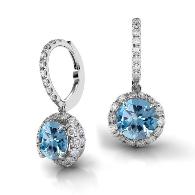 Swirl Blue Sapphire Drop Diamond Earrings