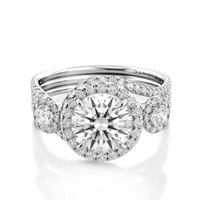 Unique Three Stone Engagement Ring AE511UQ